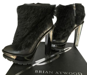 B Brian Atwood Faux Fur Leather Patent Platform Ankle Black Boots