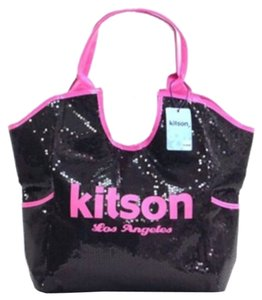 Kitson Sequin Tote in Black, Pink
