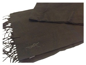 Saint Laurent YVES SAINT LAURENT NWT BLACK WOOL & CASHMERE FRINGE SCARF