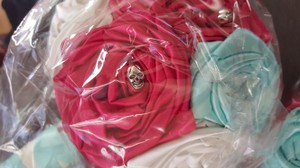 Red And Aqua W/ Skull Charms Bridal Bouquet Set