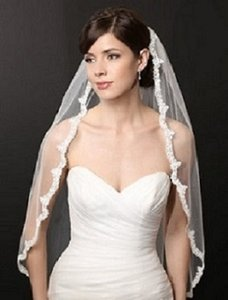 Bel Aire Bridal Ivory Lace Scalloped Fingertip Bridal Veil