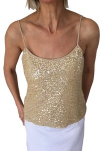 Jones New York Sequin Silk Camisole Top Tan