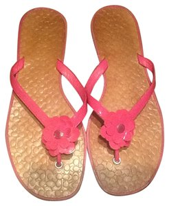 Coach Leather Floral Pink Sandals