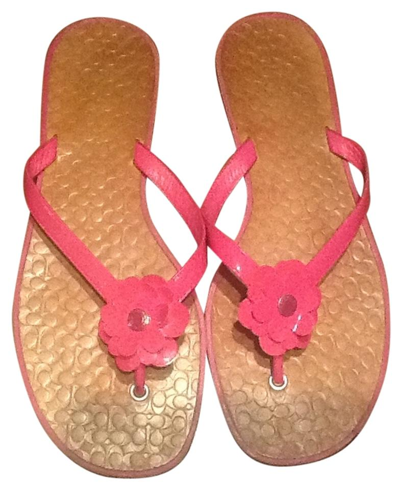 Coach pink flower sandals size us 8 tradesy coach leather floral pink sandals mightylinksfo
