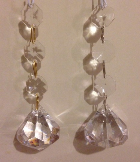 Clear 12 Gold Hanging Crystal Bling Diamond Charms Centerpiece