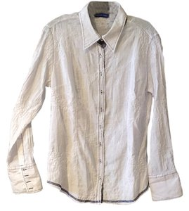 Georg Roth Los Angeles Embroidered Sequin Cuff Collar Button Down Shirt White