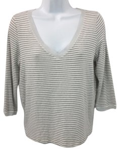 Max Mara White Gray Striped Top