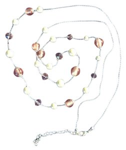 Pearl and crystal long layering necklace