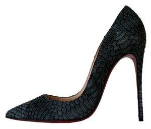 Christian Louboutin So Kate 120 Watersnake Python Black Pumps