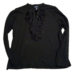Chaps T Shirt Black with Lace Embellishments