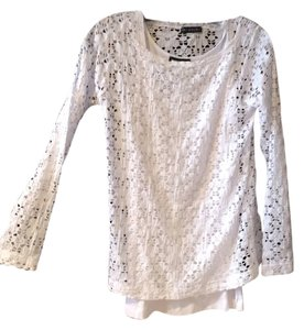 Nally & Millie Lace 2 Pc Tank Longsleeve Top White
