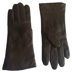 Fownes Fownes Brown Leather Cashmere Lined Gloves Size 8