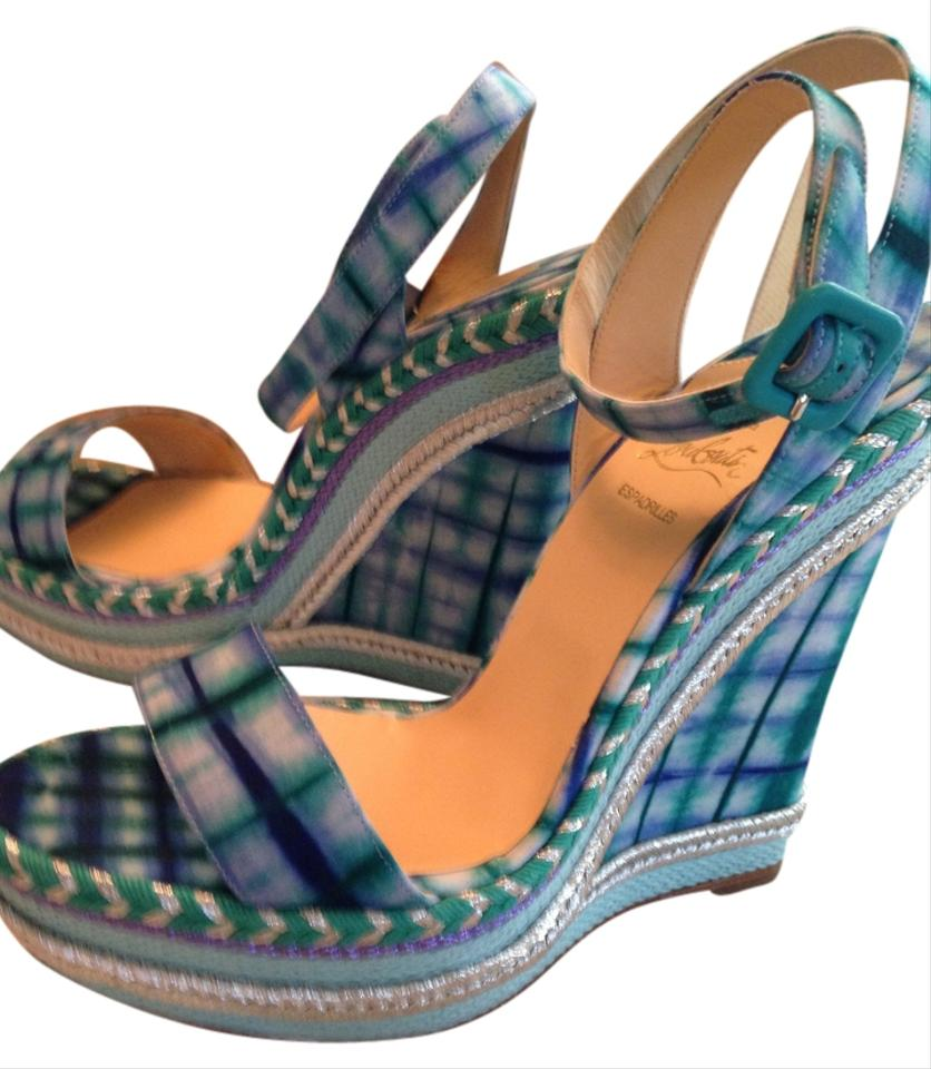 f60bcc7d11a Christian Louboutin Green Blue White Duplice 140mm Bazin 3159 Wedges ...