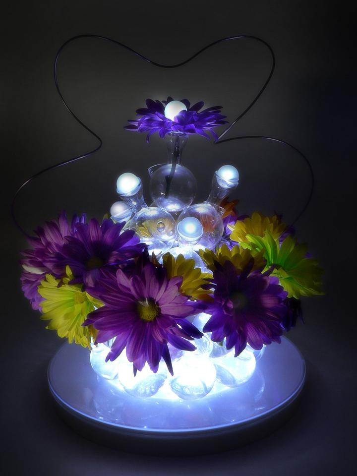White 24 Pieces Table Centerpieces Indoor Outdoor Led Lights Vase