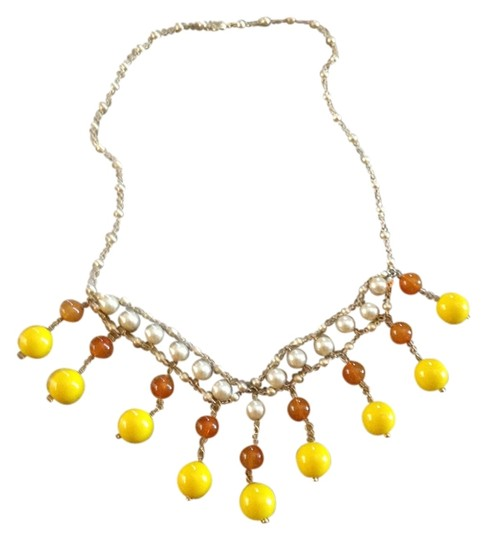 J.Crew J Crew Bauble necklace with yellow, amber and pearls.