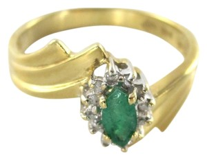 14K YELLOW SOLID GOLD RING SZ 7 EMERALD 12 DIAMOND 2.9 GRAMS FINE JEWELRY ESTATE