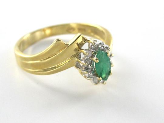 Other 14K YELLOW SOLID GOLD RING SZ 7 EMERALD 12 DIAMOND 2.9 GRAMS FINE JEWELRY ESTATE