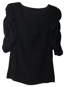 Ann Taylor Top Black With White Polka Dots