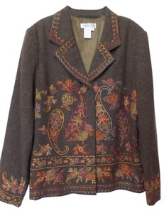 Coldwater Creek Paisley Embroidered Tweed Large New Without Tags Multi-Color Blazer