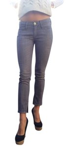 Earnest Sewn Cropped Ankle Slit Skinny Jeans-Light Wash