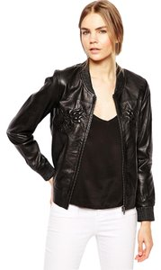 Selected femme Leather Bomber Leather Lambskin Classic black Jacket
