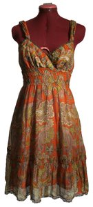 Free People short dress Orange Bohemian Paisley Silk Cotton on Tradesy
