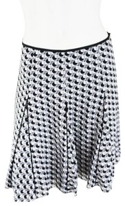 White House | Black Market Geo Print Flounce Skirt Black White & Grey