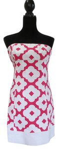 Laundry by Shelli Segal short dress White and Hot Pink Cotton Pique Fully Lined on Tradesy