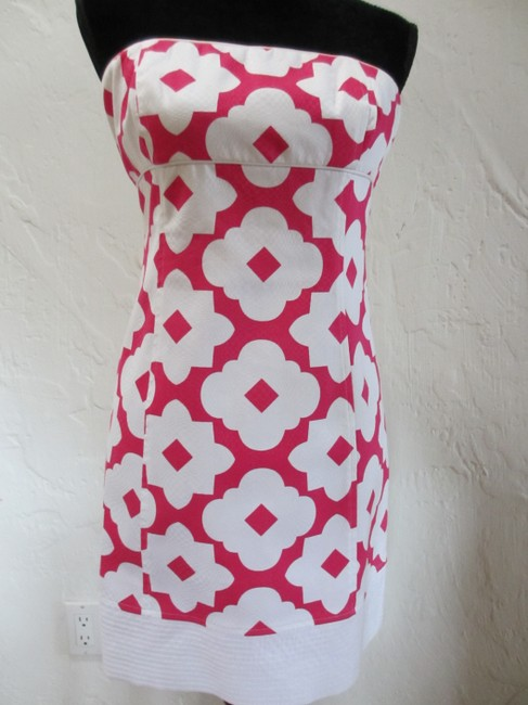 Laundry by Shelli Segal short dress White and Hot Pink Cotton Pique Fully Lined Adjustable Removable Straps Invisible Back Zipper on Tradesy