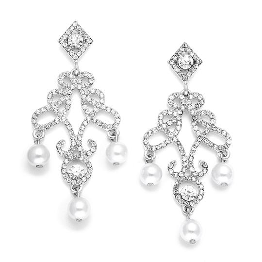 Crystals And Pearls Chandelier Bridal Earrings
