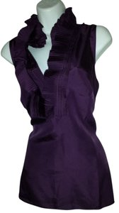 Kenar 100% Silk Acordian Pleats Sleeveless Top Purple