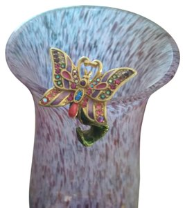 Jay Strongwater Flora Butterfly Vase Decoration
