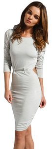 Pencey short dress Grey Long Sleeve Cutout Shirred on Tradesy