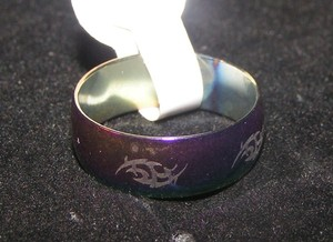 Abstract Etched Rainbow Stainless Steel Band Ring Free Shipping