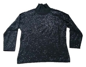 Kenneth Cole Turtleneck Sweater Top Black sequin