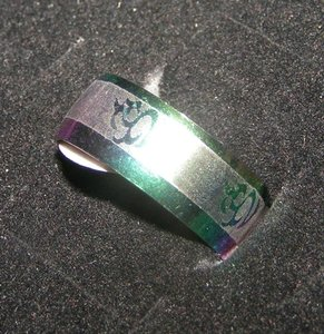 Colorful Stainless Steel Abstract Etched Band Ring Free Shipping