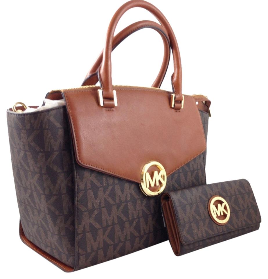 22b0e35f9853 Michael Kors 50% Off Hudson Large Pvc Matching Wallet Sells For + Wallet  Sells = Brown Signature Saffiano Leather Satchel