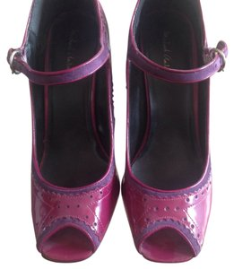 Michael Antonio Magenta Suede Peep Toe Patent Leather Mary Jane Pink/purple Pumps