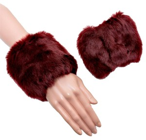 Burgundy Faux Fur Arm Warmer Gloves