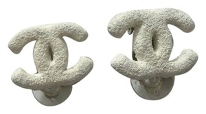 Chanel Chanel #3680 White Textured Silver CC Stud Clip on Earrings
