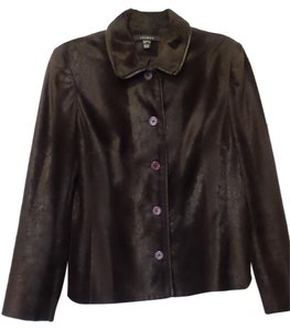 Louben Faux Fur Hair On Hide Medium New Vegan Dark Brown Jacket