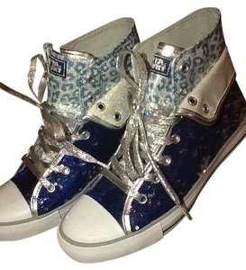 Gotta Flurt Sneakers Flats Sequins Tennis Blue and white Athletic