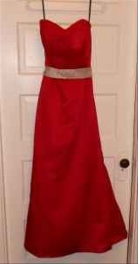 Eden Red Satin Have To Check Formal Bridesmaid/Mob Dress Size 4 (S)