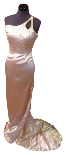 unknown Gown Satin Train Beaded Classic Dress