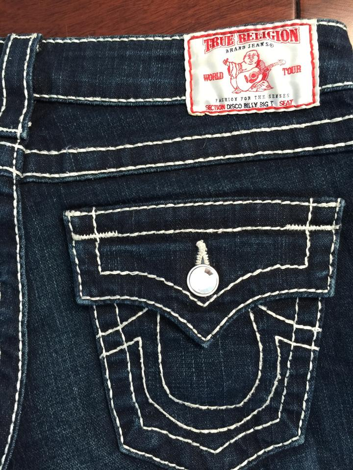 73f2c6aac1ad7 True Religion Crystal Buttons Crystal Rivets Signature Swarovski Straight  Leg Jeans-Dark Rinse Image 8. 123456789