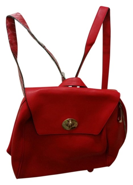 Item - Vegan Red Faux Leather Backpack
