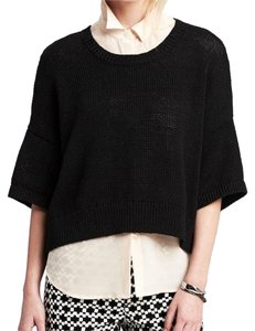 Banana Republic Sheer Panel Cool Edgy Classic Cloths Clothing Navy Crisp Sweater