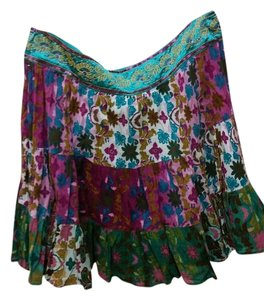 DKNY Floral Sequin Embroidered Mini Skirt Teal and Purple