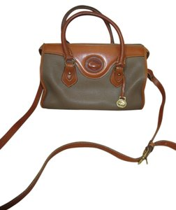 Dooney & Bourke & Cross Body Leather Satchel in Tan and Brown