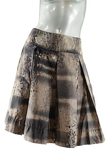 Prada Runway Watercolor Silk Skirt Brown